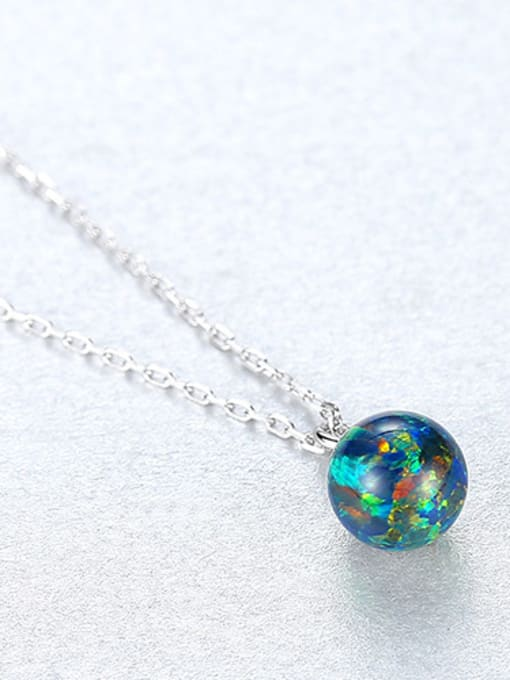 Green 925 Sterling Silver With multicolor opal simple  Ball Necklaces