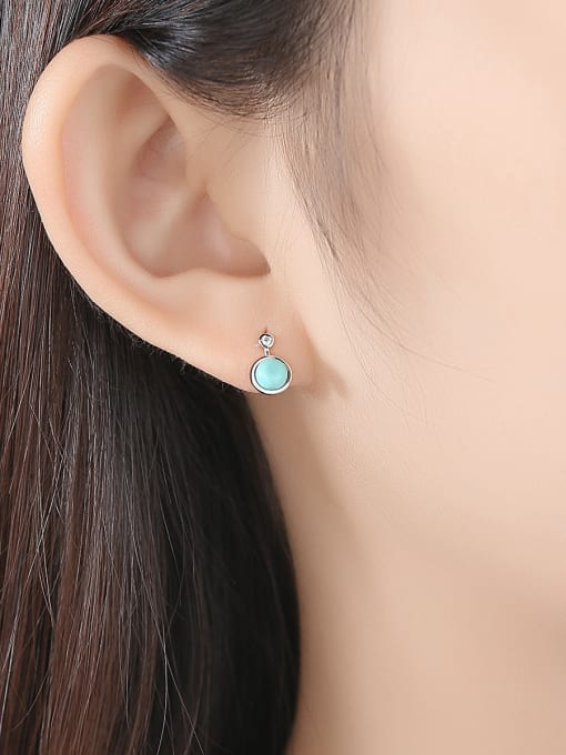 CCUI 925 Sterling Silver With Turtquoise Fashion Round Stud Earrings 1