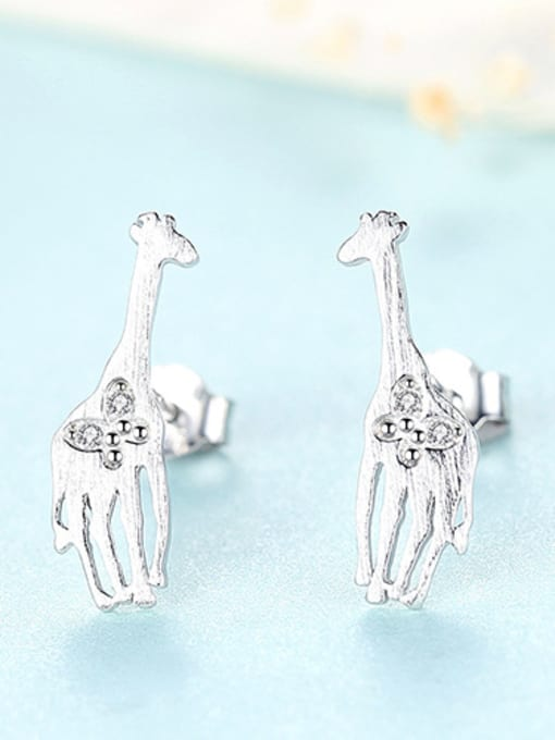 sliver 925 Sterling Silver With Cubic Zirconia Cute Animal giraffe Stud Earrings