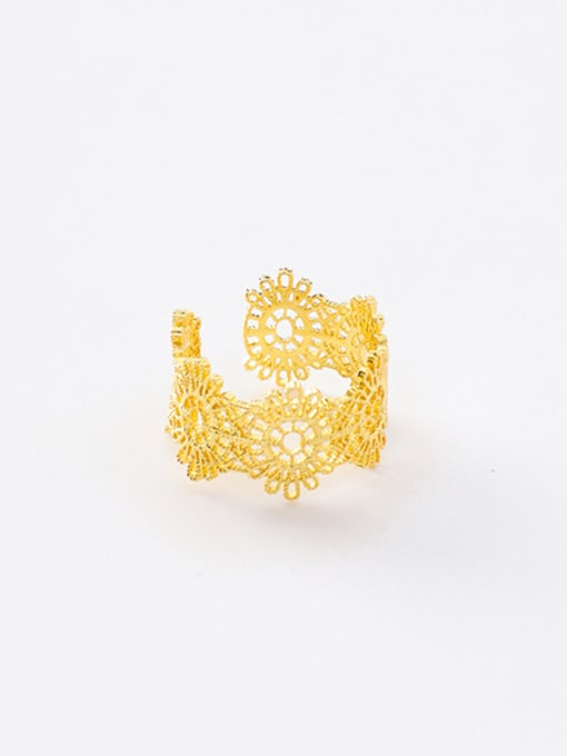 Golden Ring Alloy With Gold Plated Trendy Retro lace Ring Bracelet
