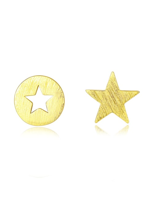 CCUI 925 Sterling Silver With  Glossy Simplistic Stars moon asymmetry  Stud Earrings 0