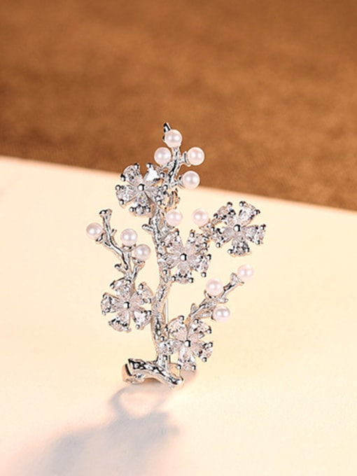 sliver 925 Sterling Silver With Artificial Pearl  Cubic Zirconia Trendy Small tree Brooches
