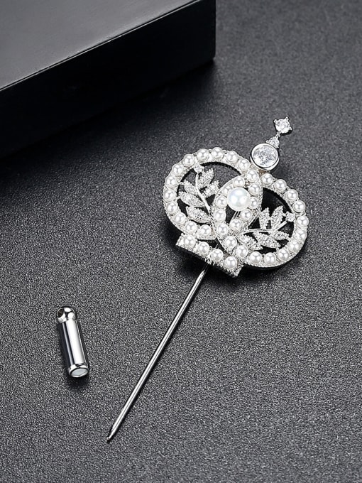 BLING SU Copper With White Gold Plated Trendy Crown Brooches 2