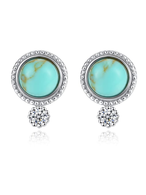 CCUI 925 Sterling Silver With Turquoise Vintage Sliver Round Stud Earrings 0
