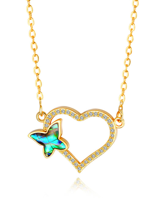 457-Gold-plated Copper With 18k Gold Plated Fashion Butterfly with heart Necklaces