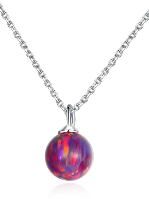 CCUI 925 Sterling Silver With multicolor opal simple  Ball Necklaces