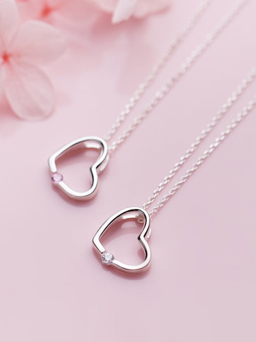 Rosh 925 Sterling Silver With Silver Plated Simplistic Heart Necklaces