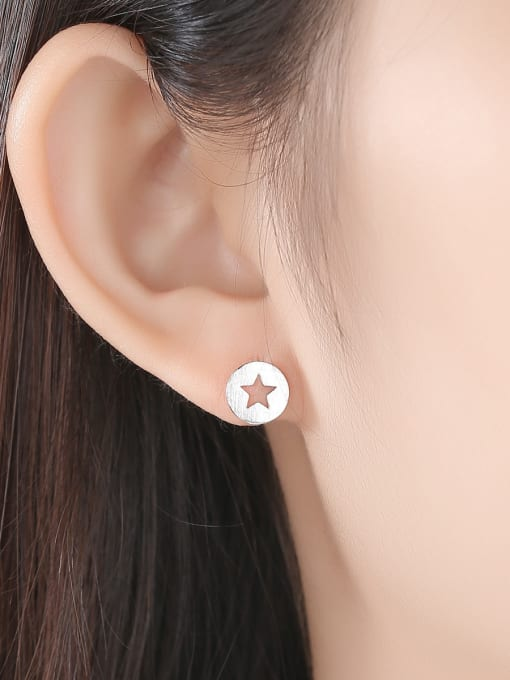 CCUI 925 Sterling Silver With  Glossy Simplistic Stars moon asymmetry  Stud Earrings 2