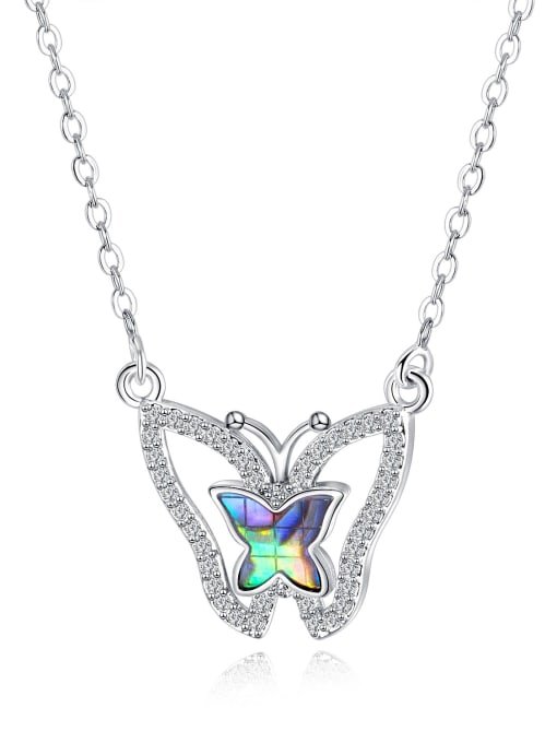 544 - Platinum plated Copper With White Gold Plated Fashion Butterfly Necklaces