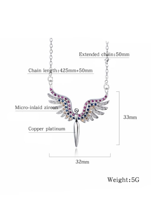 Open Sky Copper With White Gold Plated Fashion Angel wing Necklaces 2