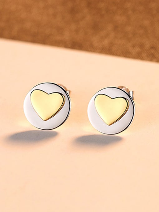 sliver 925 Sterling Silver With Simple smooth  Heart-shaped Stud Earrings
