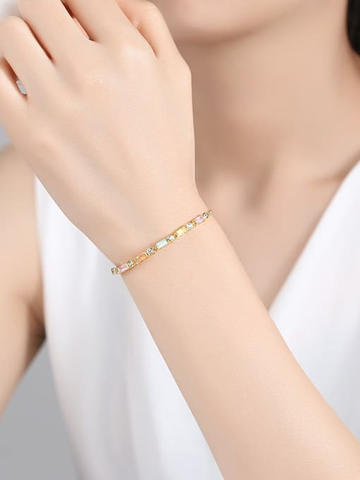 BLING SU Copper With 18k Gold Plated Fashion Geometric Cubic Zirconia Bracelets 1