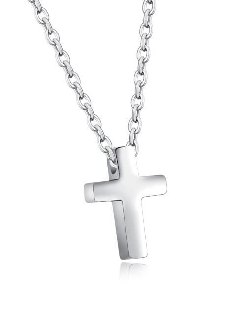 796- steel colors Stainless Steel With Rose Gold Plated Simplistic Cross Necklaces