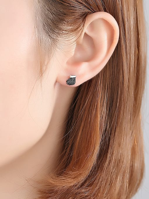 BLING SU Copper With 18k Gold Plated Fashion Clothes Stud Earrings 1