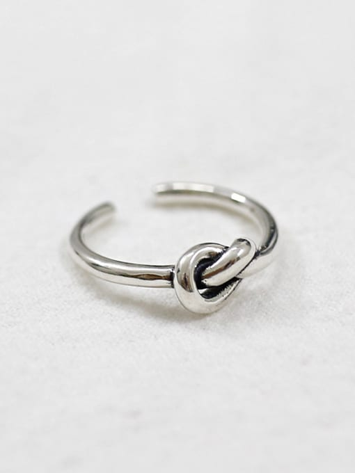 Dak Phoenix 925 Sterling Silver With Antique Silver Plated Vintage knot Free Size Rings 0