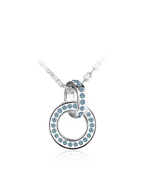 Blue Simple Combined Ring Rhinestones Necklace