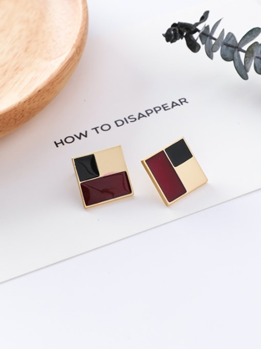 13#10426R Alloy With Gold Plated Trendy Geometric Stud Earrings