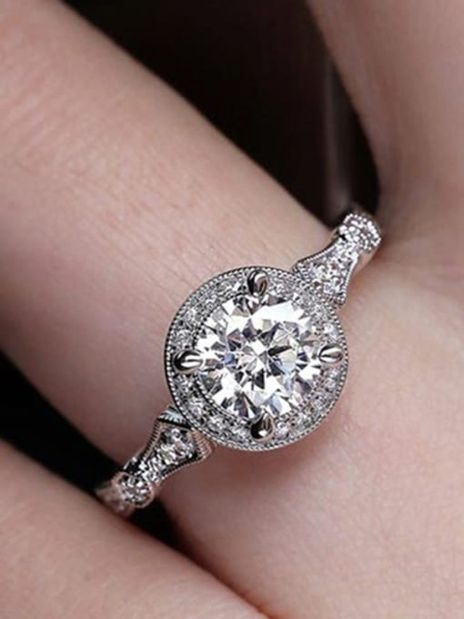 white Copper With White Gold Plated Delicate Round  Cubic Zirconia Solitaire Rings