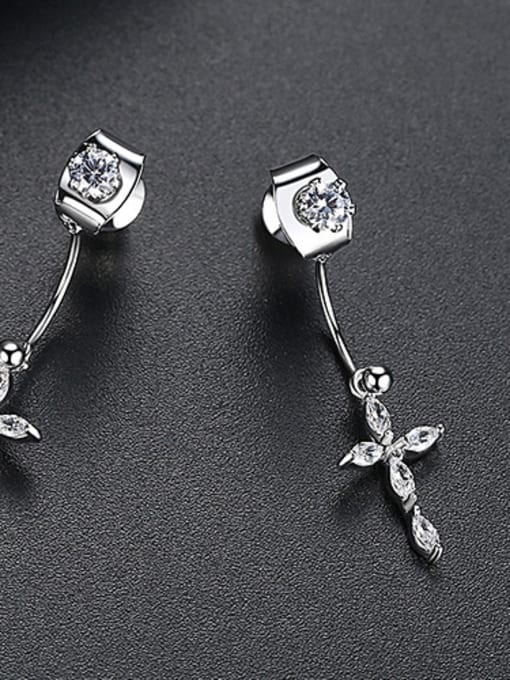 White-T02B15 Copper With Platinum Plated Delicate Cross Stud Earrings