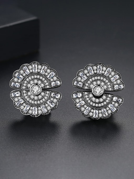 BLING SU Copper With Gold Plated Trendy Round Stud Earrings 2