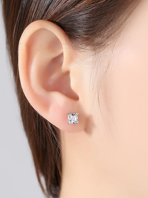 BLING SU Copper With Silver Plated Simplistic Geometric Stud Earrings 1