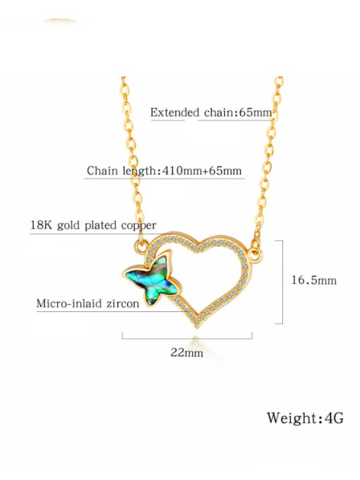 Open Sky Copper With 18k Gold Plated Fashion Butterfly with heart Necklaces 2