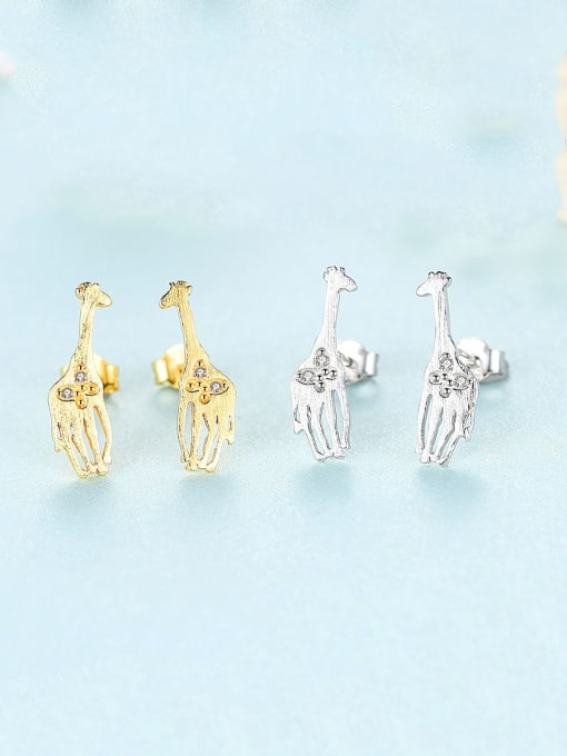 CCUI 925 Sterling Silver With Cubic Zirconia Cute Animal giraffe Stud Earrings 2