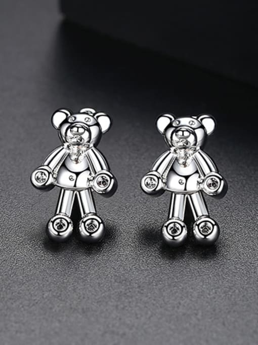 Platinum-T02C24 Copper With 18k Gold Plated cute Animal bear Stud Earrings