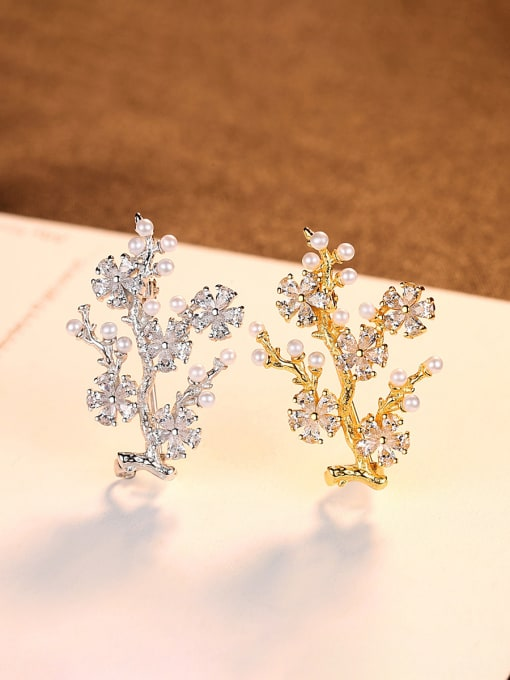 CCUI 925 Sterling Silver With Artificial Pearl  Cubic Zirconia Trendy Small tree Brooches 2