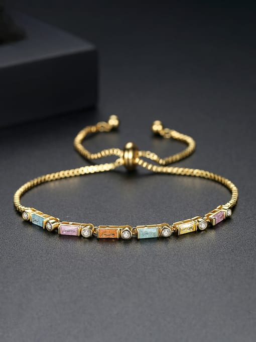 BLING SU Copper With 18k Gold Plated Fashion Geometric Cubic Zirconia Bracelets 2
