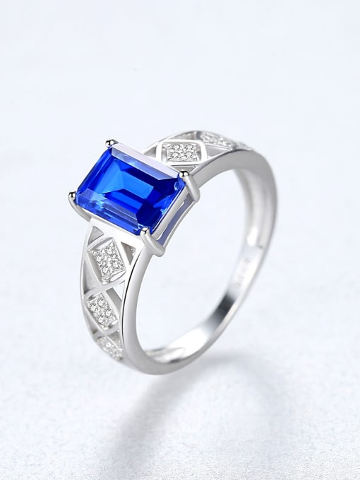 CCUI 925 Sterling Silver With Glass stone Simplistic Square Band Rings 2