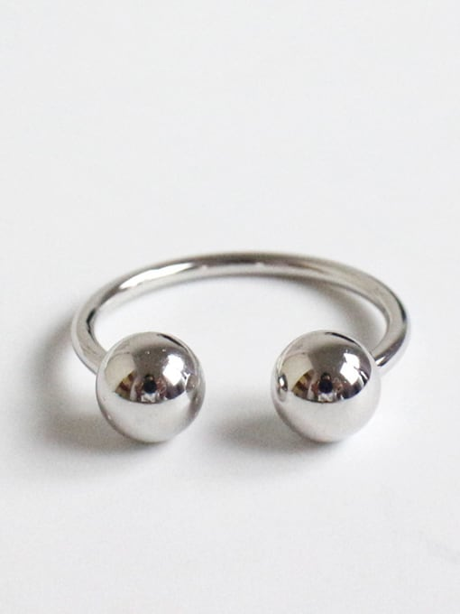 Platinum large 925 Sterling Silver With Platinum Plated Personality Double ball Free Size Rings