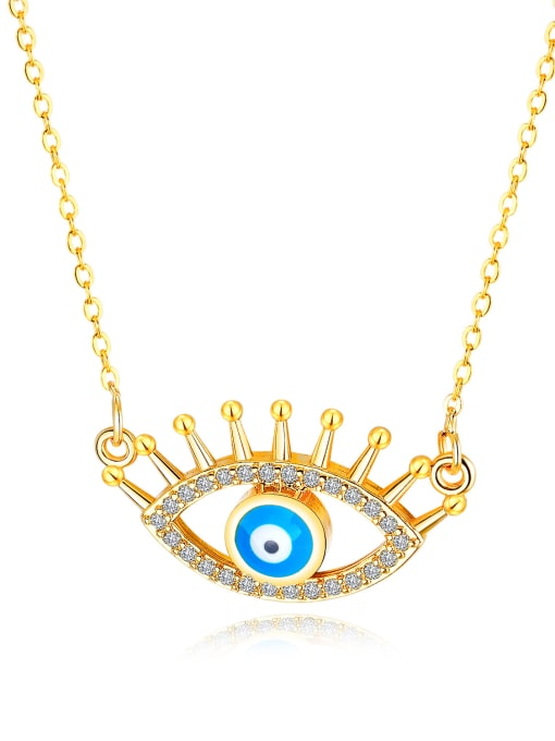 456-gold Copper With 18k Gold Plated Personality Evil Eye Necklaces