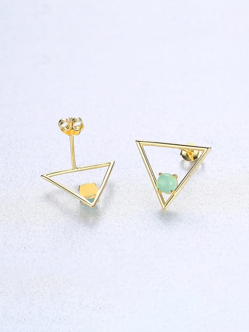 CCUI 925 Sterling Silver With Opal Simplistic Triangle Stud Earrings 3