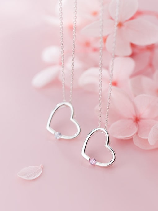 Rosh 925 Sterling Silver With Silver Plated Simplistic Heart Necklaces 3