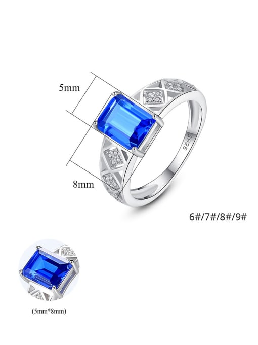 CCUI 925 Sterling Silver With Glass stone Simplistic Square Band Rings 4