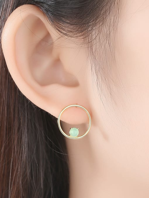 CCUI 925 Sterling Silver With  Turquoise Simplistic Round Stud Earrings 1