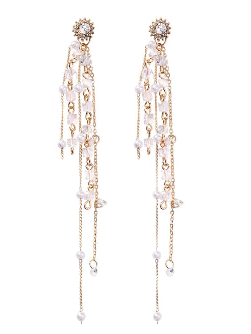 Girlhood Alloy With Gold Plated Long section multi-layer tassel Charm Drop Earrings 0