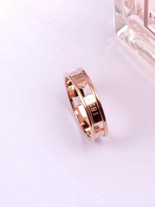 Rose Concave Hollow Titanium Lover Ring 0