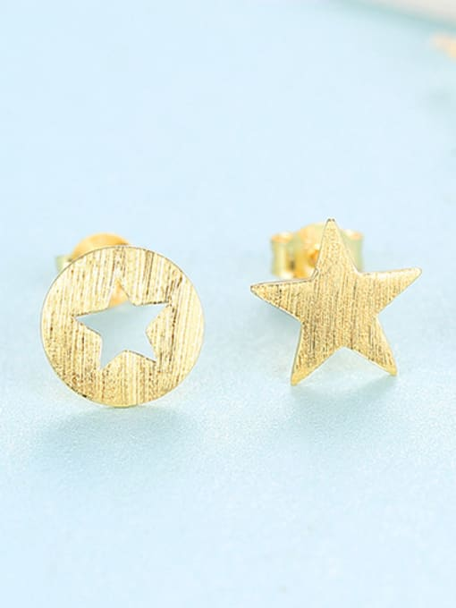 gold 925 Sterling Silver With  Glossy Simplistic Stars moon asymmetry  Stud Earrings