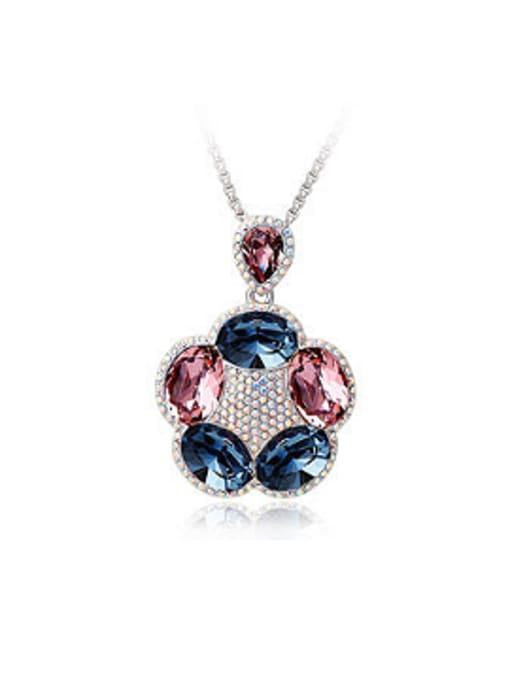 Purple Fashion Swarovski Crystals Flowery Necklace