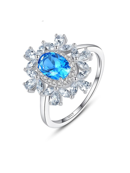 CCUI 925 Sterling Silver With Sapphire Luxury Flower Solitaire Rings 0