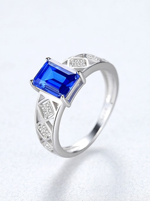 BLUE 925 Sterling Silver With Glass stone Simplistic Square Band Rings