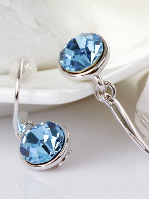 OUXI Fashion Blue Round Crystal Earrings 2