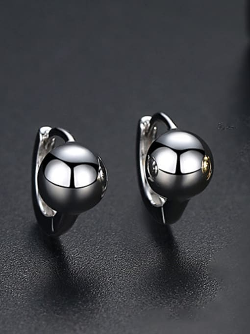 Platinum-T02E17 Copper With Platinum Plated Casual Ball Stud Earrings