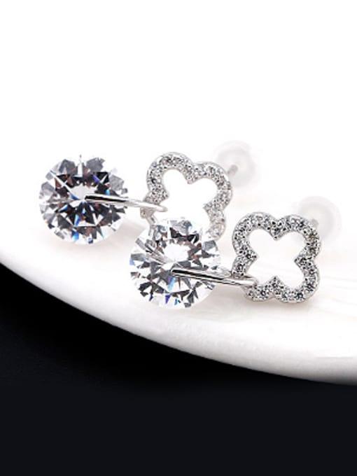OUXI Fashion Clover Zircon Stud Earrings 1