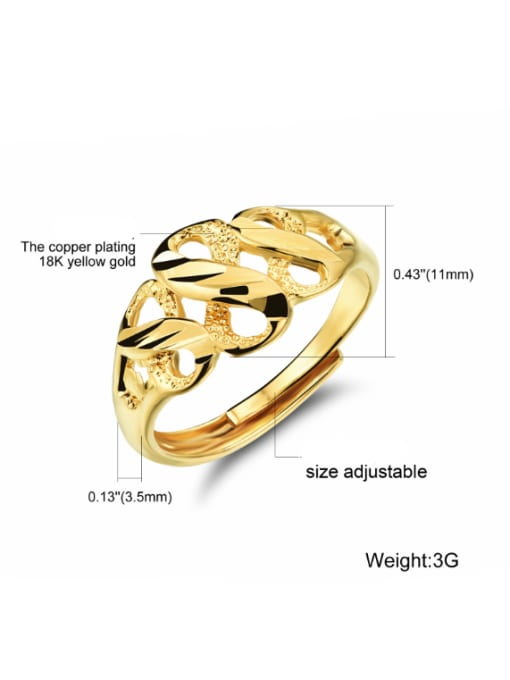 Open Sky Copper With 18K Gold Plated Luxury splayed FREE SIZE Rings 2