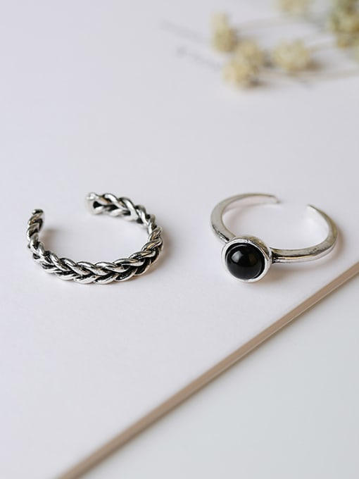Girlhood Alloy With Antique Silver Plated Vintage Round 2 pcs Stacking Rings 0