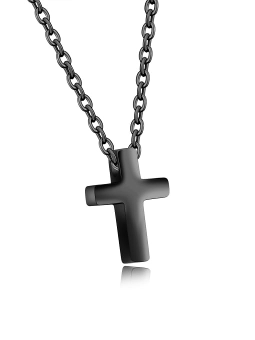 796- black Stainless Steel With Rose Gold Plated Simplistic Cross Necklaces
