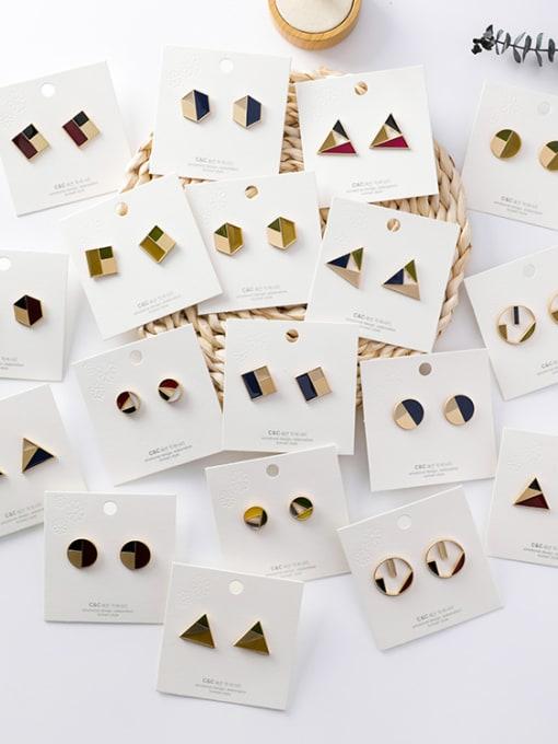 Girlhood Alloy With Gold Plated Trendy Geometric Stud Earrings 1